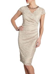 Beaded scallop stretch lace dress