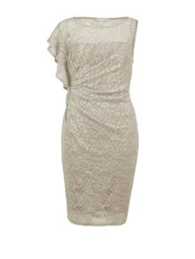Gina Bacconi Sequin lace dress with ruffled shoulder