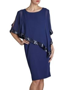 Crepe dress and sequin chiffon cape