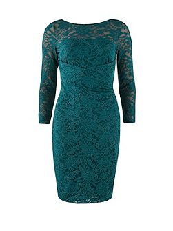 Forest green sparkle stretch lace dress
