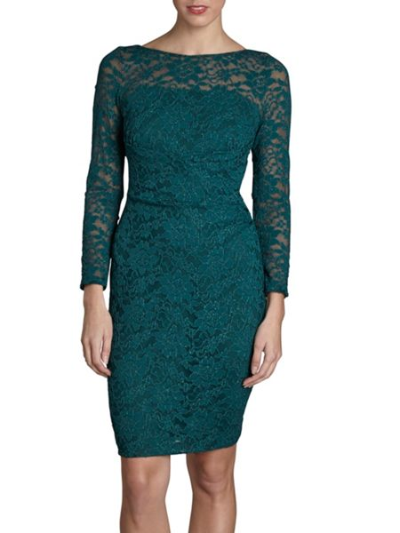 Gina Bacconi Forest green sparkle stretch lace dress
