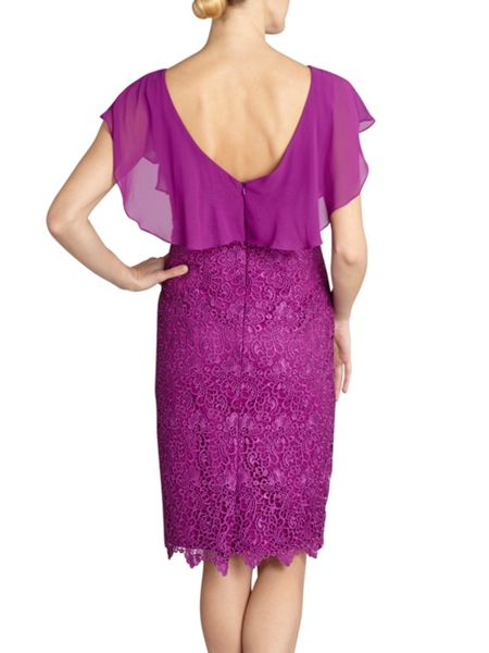 Gina Bacconi Guipure lace dress chiffon cowl neck