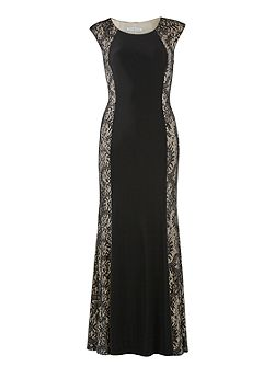 Long ps jersey dress with lace panels