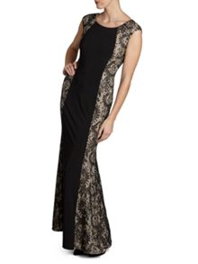 Gina Bacconi Long ps jersey dress with lace panels
