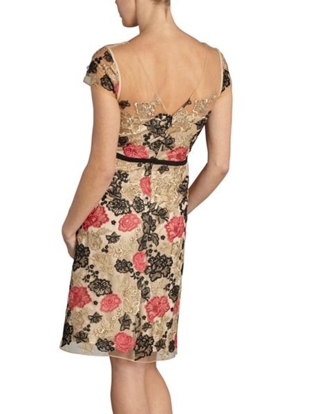 Gina Bacconi Multi colour embroidered net dress
