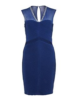 Jersey pin tuck dress with beaded mesh