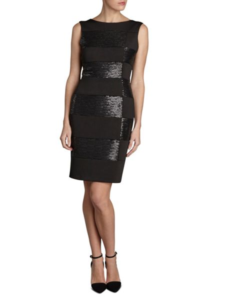 Gina Bacconi Round neck scuba and sequin dress