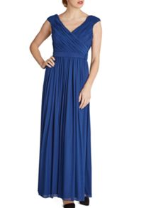 Gina Bacconi Long mesh dress with pleated bodice