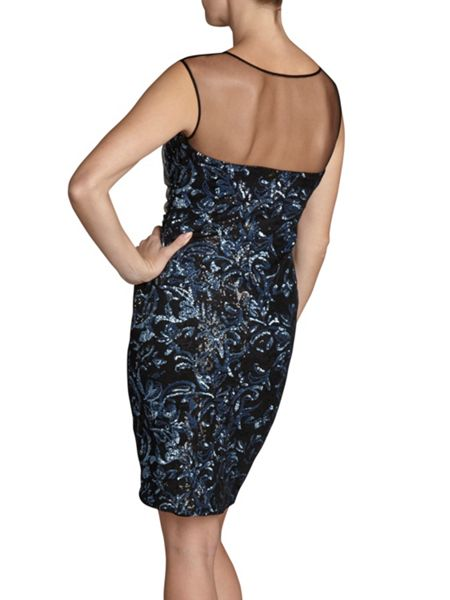Gina Bacconi Round neck blue sequin mesh dress