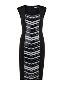 Gina Bacconi Scuba dress with sequin panel