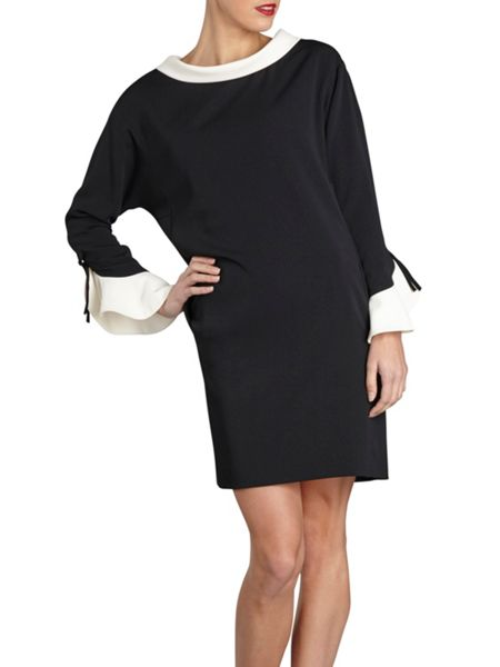 Gina Bacconi Moss crepe dress with contrast collar