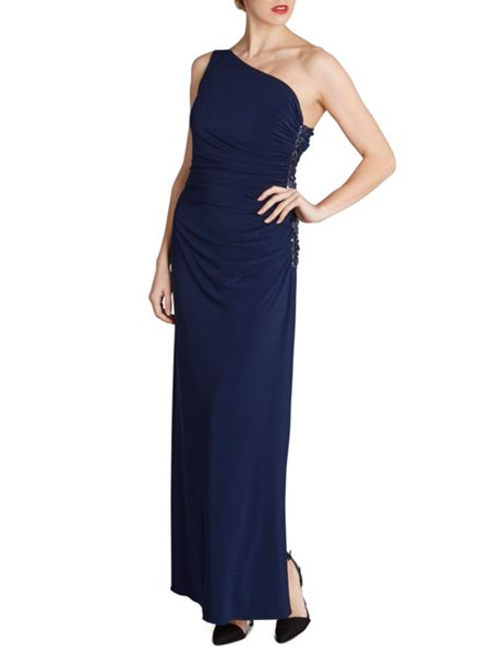 Gina Bacconi One shoulder long jersey sequin dress