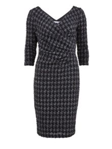 Dogtooth check sequin knit wrap dress