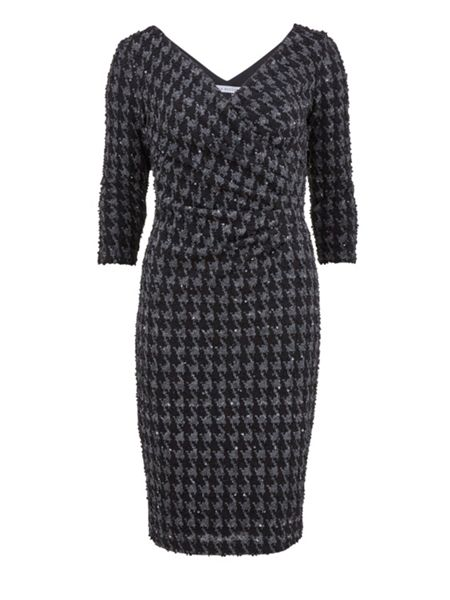 Gina Bacconi Dogtooth check sequin knit wrap dress