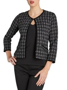 Dogtooth check sequin knit jacket