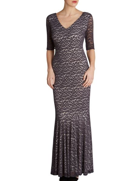 Gina Bacconi Wool handle animal mesh fishtail dress