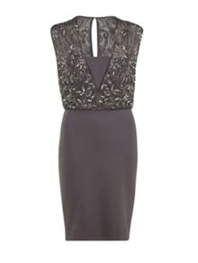 Ponti dress  with beaded wrap bodice