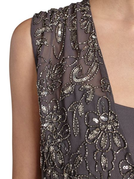Gina Bacconi Ponti dress  with beaded wrap bodice
