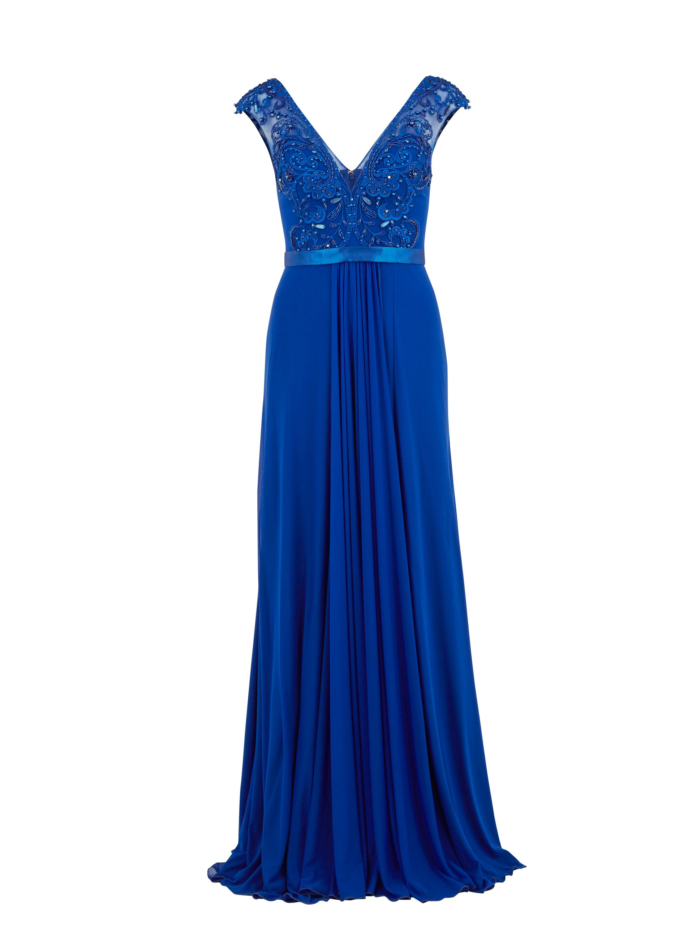 Gina Bacconi Long mesh dress with beaded applique