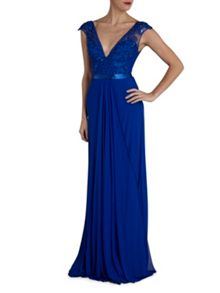 Long mesh dress with beaded applique