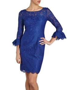 Lace dress with frill sleeve cuff