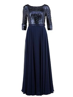 Long chiffon dress with sequin bodice
