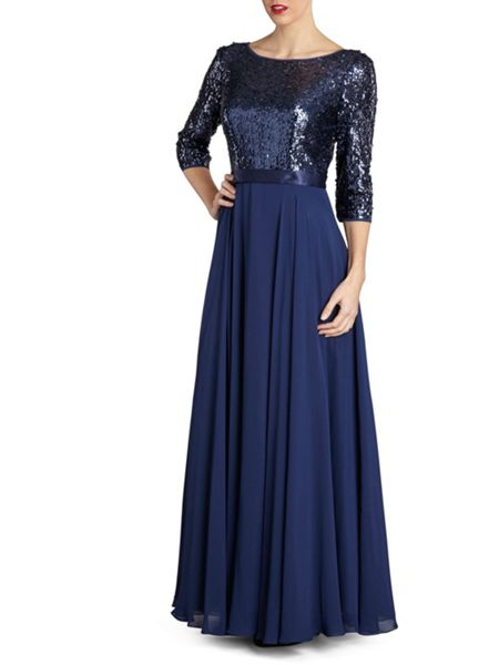 Gina Bacconi Long chiffon dress with sequin bodice