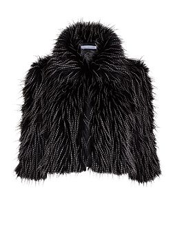 Gina Bacconi Black white faux fur cropped jacket