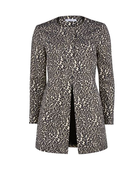 Gina Bacconi Round neck animal jacquard coat