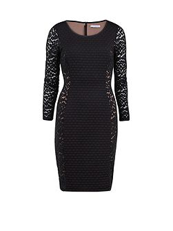 Wool and animal mesh panelled dress