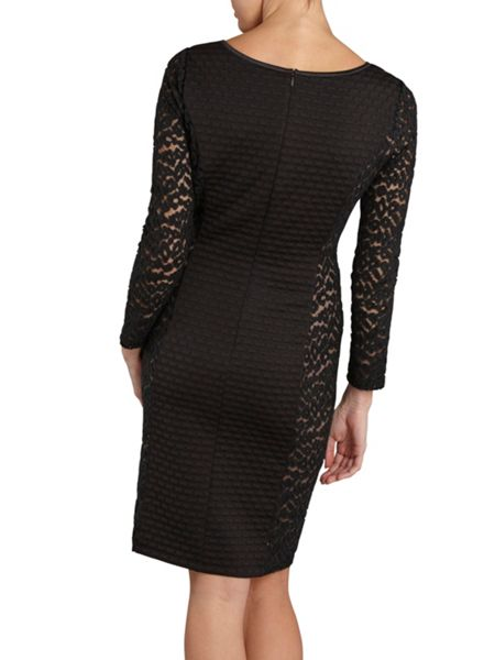 Gina Bacconi Wool and animal mesh panelled dress