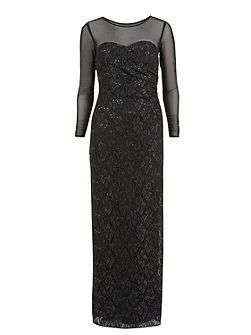 Round neck lace and sequin long dress
