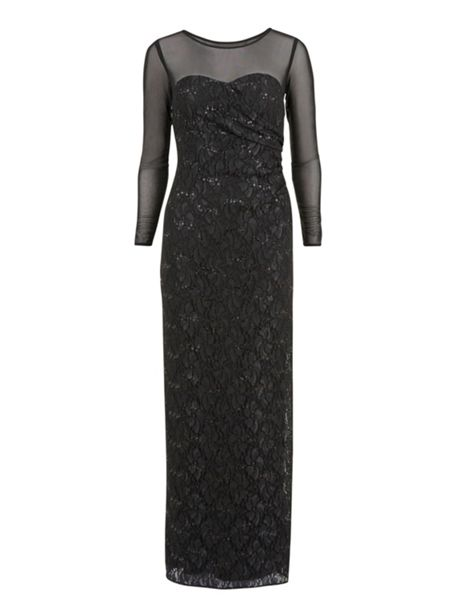 Gina Bacconi Round neck lace and sequin long dress