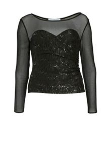 Gina Bacconi Lace and sequin top with sheer yoke