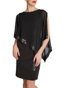 Gina Bacconi Chiffon cape with sequin edge