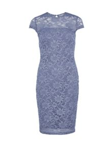 Round neck sparkly frosted lace dress
