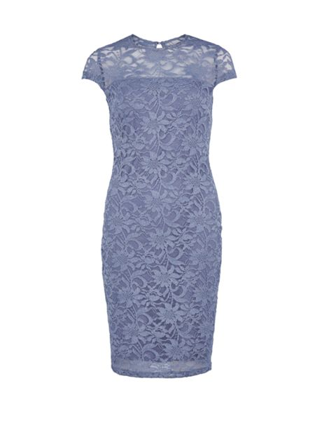Gina Bacconi Round neck sparkly frosted lace dress