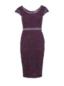 Gina Bacconi Round neck beaded lace dress