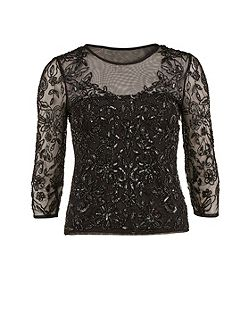 Round neck black sequinned mesh top