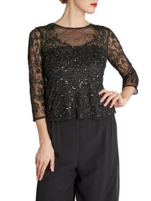 Gina Bacconi Round neck black sequinned mesh top