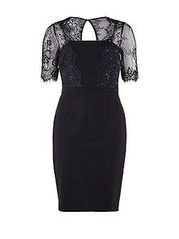 Heavy ponti beaded scallop lace dress