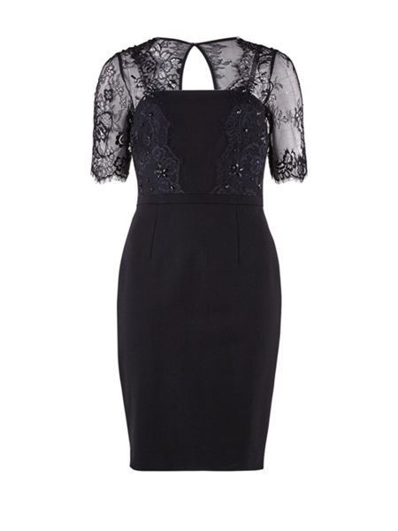 Gina Bacconi Heavy ponti beaded scallop lace dress