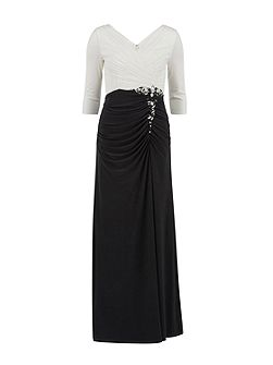 Long jersey dress with contrast ruching