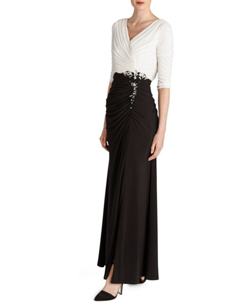 Gina Bacconi Long jersey dress with contrast ruching