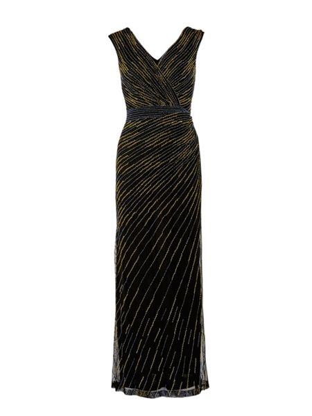 Gina Bacconi Long v neck beaded dress