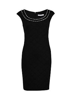 Embossed scuba dress with beaded neck