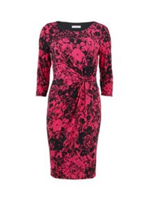 Gina Bacconi Fucshia and black printed ruched dress