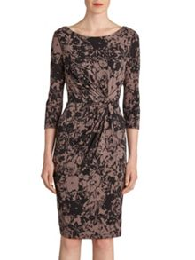 Gina Bacconi Black and taupe printed ruched dress