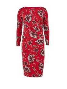 Gina Bacconi Black, red and white ruched print dress