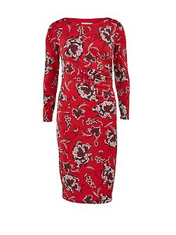 Gina Bacconi Black, red and white ruched print
